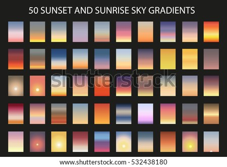 vector set of 50  sunset and