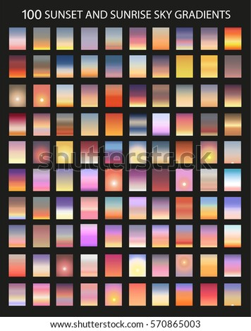 vector set of 100  sunset and