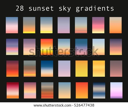 Vector set of sunset sky gradients. A set of backgrounds.