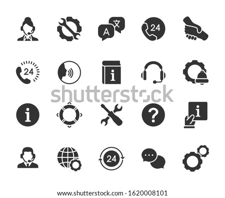 Vector set of support service flat icons. Contains icons of information, help, voice assistant, translator, setting, phone assistant, online chat and more. Pixel perfect, scalable 24, 48, 96 pixels.