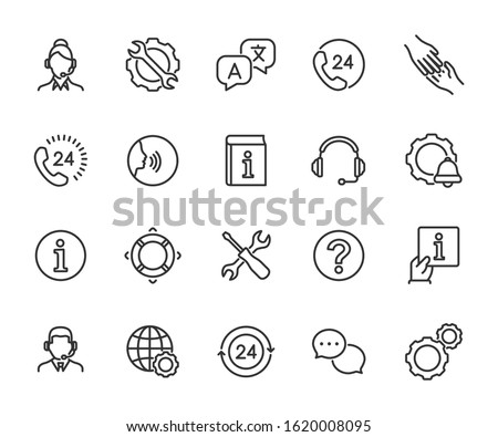 Vector set of support service line icons. Contains icons of information, help, voice assistant, translator, setting, phone assistant, online chat and more. Pixel perfect, scalable 24, 48, 96 pixels.