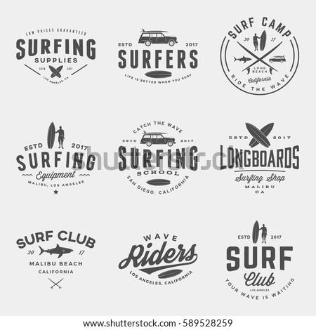 vector set of surfing logos