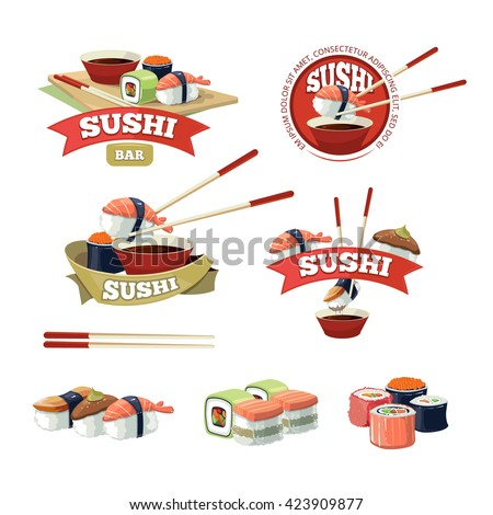 vector set of sushi banners, labels logo isolate on white background.