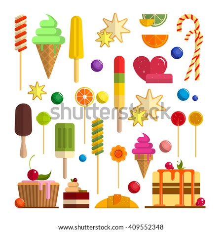 vector set of sweet food icons