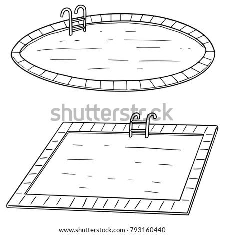 vector set of swimming pool