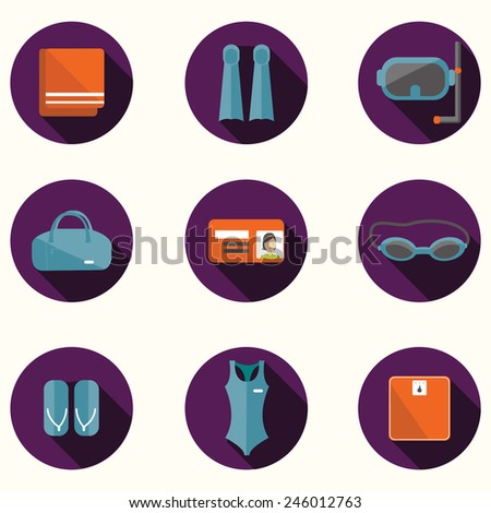 Vector set of swimming pool icon. Flat icon of swimming pool. Vector flat icon of fitness. Fitness elements. Vector flat design of fitness. Fitness details. Fitness woman. Fitness equipments.
