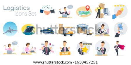 Vector set of symbols, cargo delivery logistics icons. The work of the logistics company and the main processes. Order, delivery, loading, documents, customs warehouse.