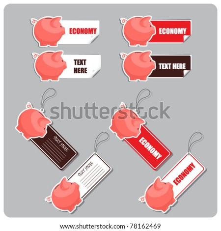 Vector set of tags and stickers with piggy bank.