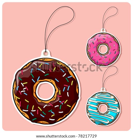vector set of tags with donut