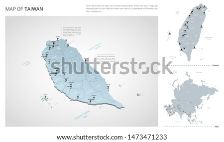 Vector set of Taiwan country.  Isometric 3d map, Taiwan map, Asia map - with region, state names and city names.