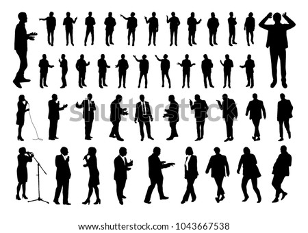 Vector set of talking people silhouettes