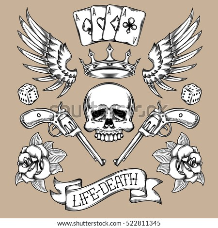 Vector set of tattoos.