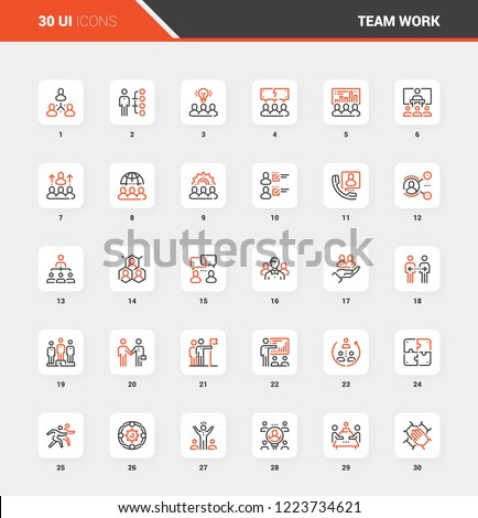 Vector set of team work flat line web icons. Each icon with adjustable strokes neatly designed on pixel perfect 48X48 size grid. Fully editable and easy to use.