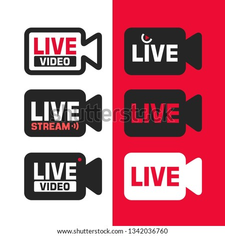 Vector set of tech icon sign online video stream. Icons online broadcasting in the form of a video camera with the text: Live Video. Illustration of video broadcast icon in flat minimalism style.