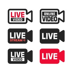 Vector set of tech online video sign icon. Video camera with the text: live, online, video stream.  Illustration of a camcorder sign in flat minimalism style.