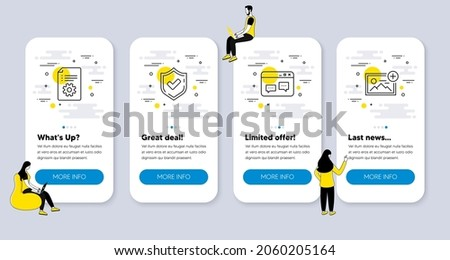 Vector Set of Technology icons related to Browser window, Confirmed and Technical documentation icons. UI phone app screens with people. Add photo line symbols. Vector
