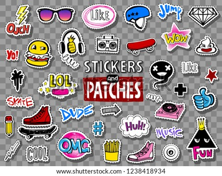 vector set of teens stickers
