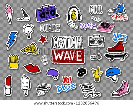vector set of teens stickers in