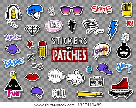 Vector set of teens stickers in doodle style.