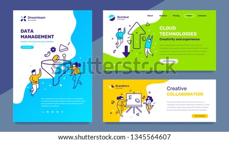 Vector set of template with business illustration with people on color background. Concept of management, cloud technology, collaboration with text. Line art style design for web page, site, poster