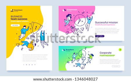 Vector set of template with business illustration with people on color background. Concept of success, mission, partnership with text. Line art style design for web page, site development, poster
