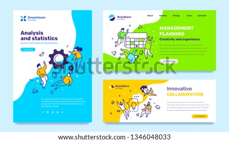 Vector set of template with business illustration with people on color background. Concept of management, collaboration, analysis with text. Line art style design for web page, site development, cover
