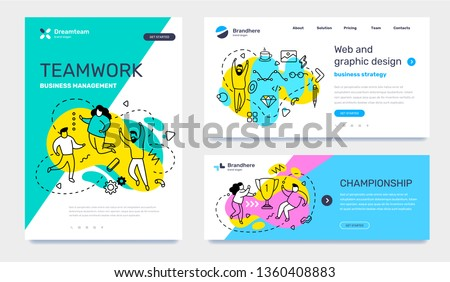 Vector set of template with business illustration with people on color background. Concept of teamwork, graphic design, championship with text. Line art style design for web page, site, poster, banner