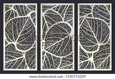 Vector set of templates of skeletonized leaves for cutting exterior. Silhouette floral pattern. Laser cut cabinet fretwork perforated panel. Metal, paper or wood carving panel. Outdoor screen. Stencil