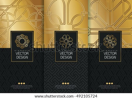 Vector set of templates packaging, black labels and frames for luxury products in trendy linear style,banner,identity, branding,golden pattern in trendy linear style, vector illustration