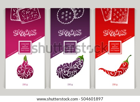Vector set of templates packaging design snack food, label, banner, poster, identity, branding. Background with sketch hand drawn illustration - cookies, cracker, biscuit.