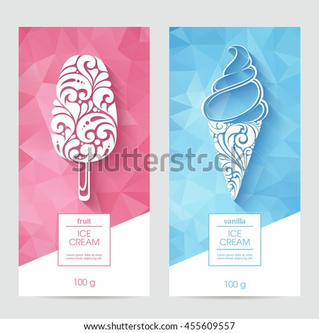 Vector set of templates packaging ice cream, label, banner, poster, identity, branding. Abstract color background with ornamental design elements - soft serve ice cream, ice lolly icon. Stylish design
