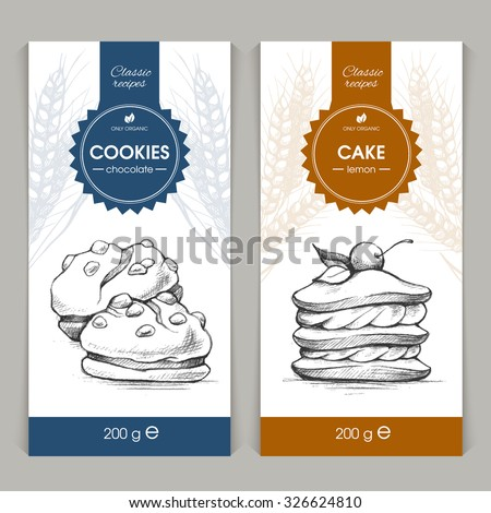 Vector Set Of Templates Packaging Sweets, Label, Banner ...