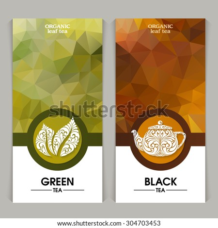 Vector set of templates packaging tea, label, banner, poster, identity, branding. Abstract color background with ornamental design elements - leaf icon, teapot. Stylish design for black and green tea