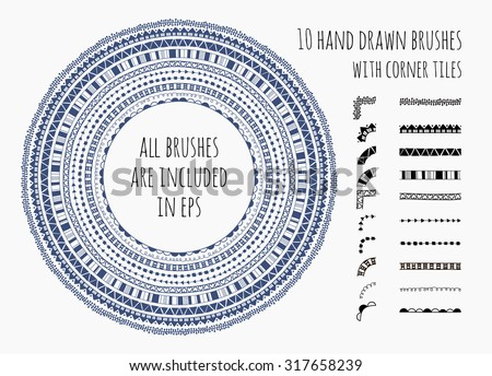 Vector set of ten hand drawn brushes with corner tiles. Seamless pattern of different colors for frames, borders and design elements. Vector isolated illustration. Brushes are included in eps.