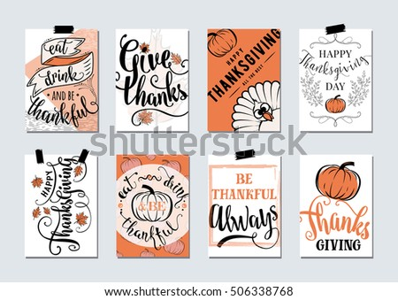 Vector set of thanksgiving holidays hand drawn invitation and thanksgiving greeting card with handwritten lettering greetings, words and thanksgiving phrases. Happy thanksgiving day wishes template