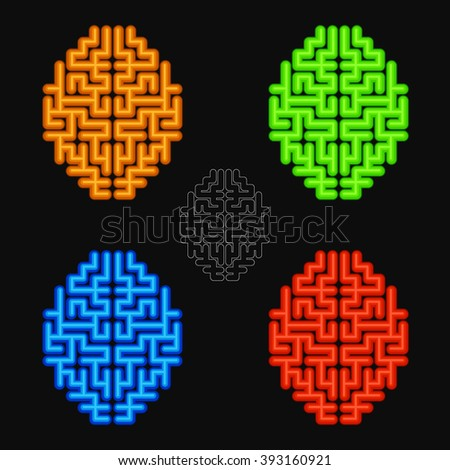 Vector Set Of The Abstract Human Brains. #393160921