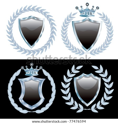 vector set of the black shields with silver laurel