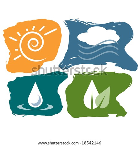 Vector set of the four elements (fire, air, earth, water)