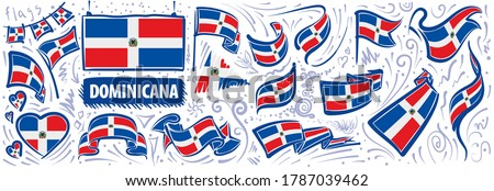 Vector set of the national flag of Dominicana in various creative designs Foto stock ©