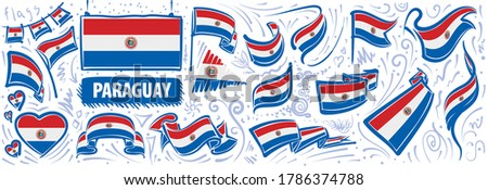 Vector set of the national flag of Paraguay in various creative designs Foto d'archivio ©