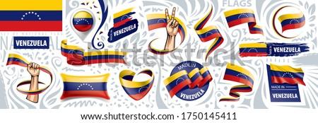 Vector set of the national flag of Venezuela in various creative designs Stockfoto ©
