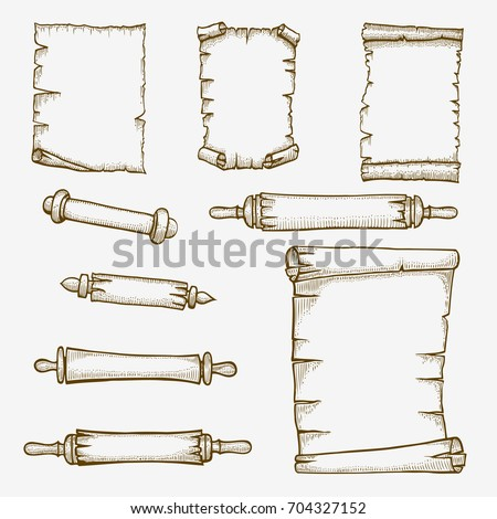 Vector set of the old scrolls stylized as engraving.