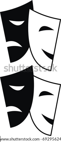 Vector set of theatrical masks - Tragedy and Comedy - isolated illustration on white background
