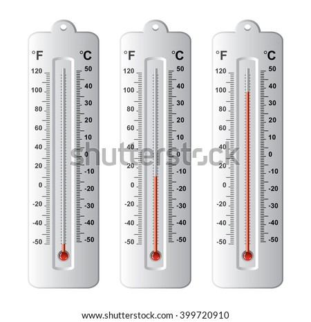 vector set of thermometers at different levels with fahrenheit and celsius scale