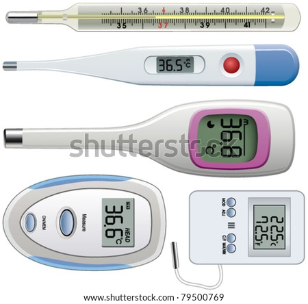vector set of thermometers of