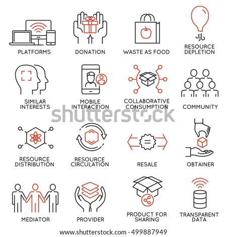 Vector set of 16 thin icons related to altruism, cooperation, collaborative consumption and volunteering. Mono line pictograms and infographics design elements - part 1 Stock photo ©