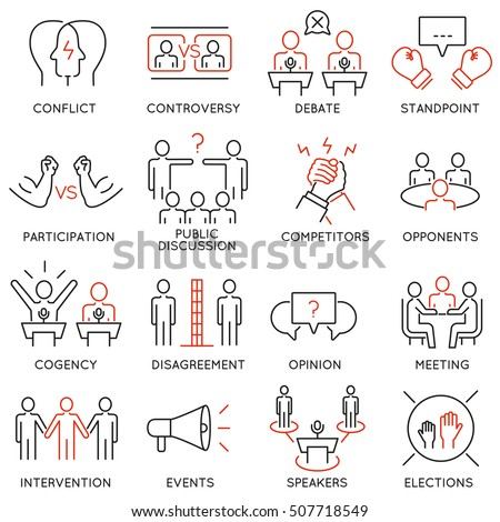 Vector set of 16 thin icons related to  controversy, discussion and competition. Mono line pictograms and infographics design elements