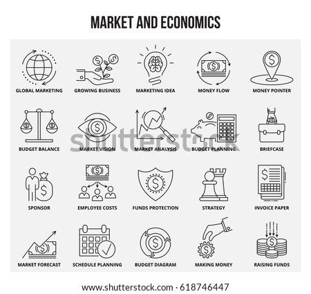 Vector set of thin line icons of market and economics. Mono line pictograms and infographics design elements.
