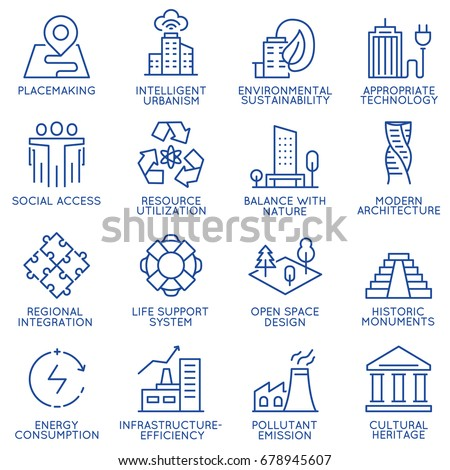 Vector set of thin linear 16 icons related to technology for intelligent urbanism, smart city and urban development. Mono line pictograms and infographics design elements - part 1