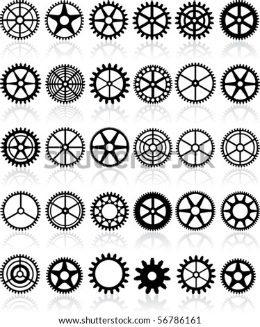 vector set of thirty different gears
